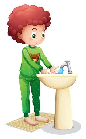 aseo personal: Ilustraci�n de un muchacho joven que se lava las manos sobre un fondo blanco