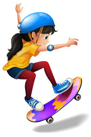 白い背景の上でスケート ボードの若い女の子のイラスト