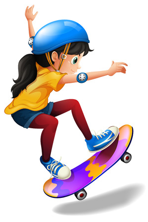 젊은 여자는 흰색 배경에 스케이트 보드의 그림