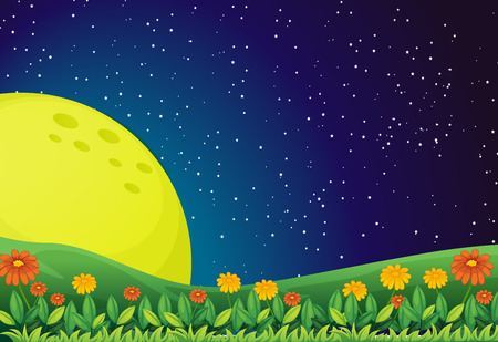 Illustration of the bright moon and the sparkling sky Vector