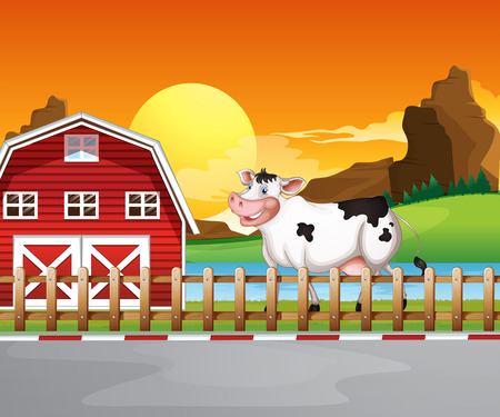 Illustration of a cow beside the wooden barnhouse Vector