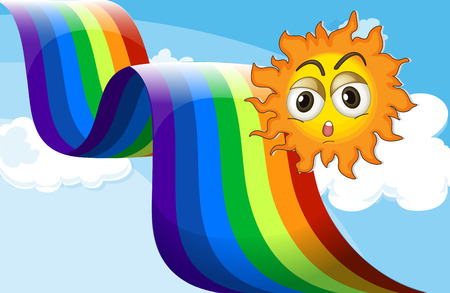 Illustration of a rainbow beside the sun Vector