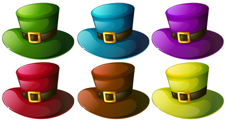 Illustration of the six colourful hats on a white background