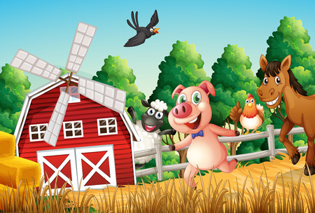wind mills: Illustration of the happy farm animals