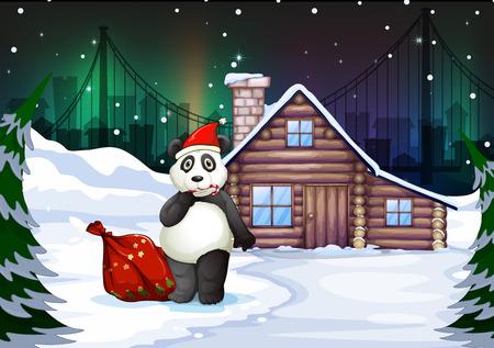 northpole: Illustratie van een Santa panda met een rode zak vol geschenken Stock Illustratie