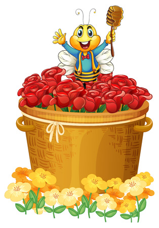 Illustration of a happy bee above the basket of flowers on a white background