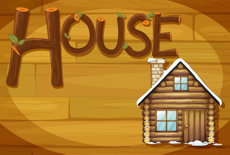 Illustration of a wooden frame with a house Vector