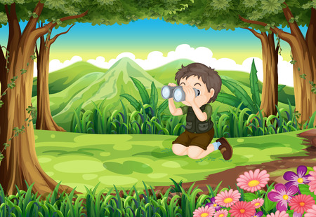 Illustration of a boy at the forest with a telescope Vector