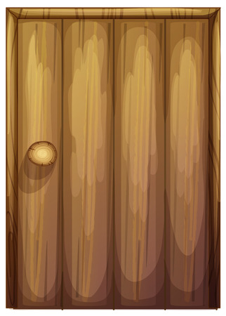 Illustration of a wooden door on a white background Vector