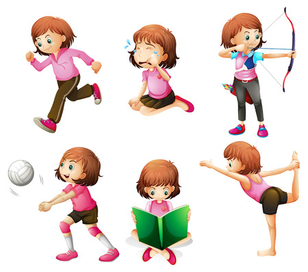 girls with bows: Illustration of the different activities of a little lady on a white background Illustration