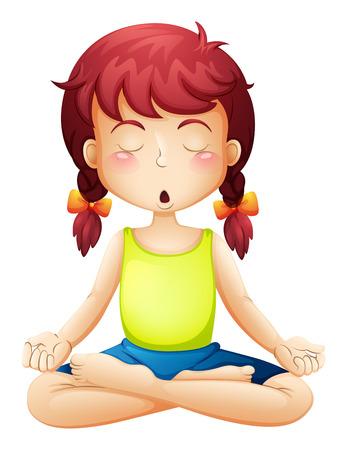 mujer meditando: Ilustración de una niña haciendo yoga en un fondo blanco