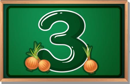 numeric: Illustration of a blackboard with three onions