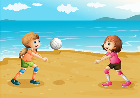 Illustration of the girls playing volleyball at the beach Illustration