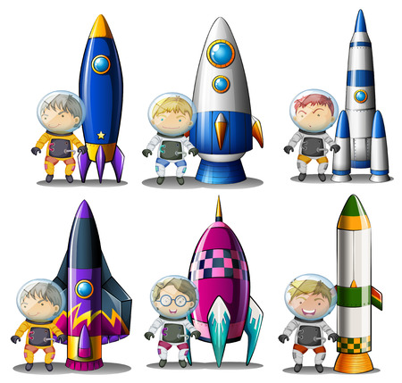 destructive: Illustration of the explorers beside the rockets on a white background