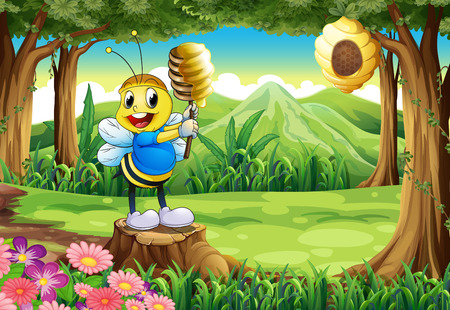 Illustration of a bee above the stump at the forest Vector