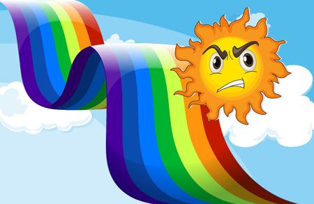 moody sky: Illustrazione di un sole accigliata vicino al arcobaleno