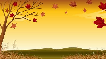 autumn scene: Illustration of a view of an autumn Illustration
