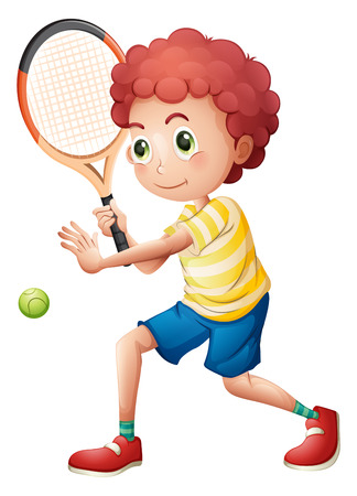 Illustration of a young tennis player on a white background Vector