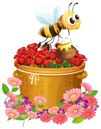 Illustration of a basket of red roses and a bee with a pot of honey on a white background Vector