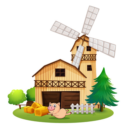 barrell: Illustration of a wooden farmhouse with a playful pig on a white background