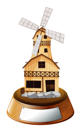 swingdoor: Illustration of a trophy stand with a wooden house on a white background