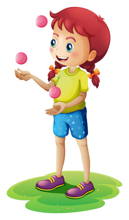 Illustration of a young girl juggling on a white background Vector
