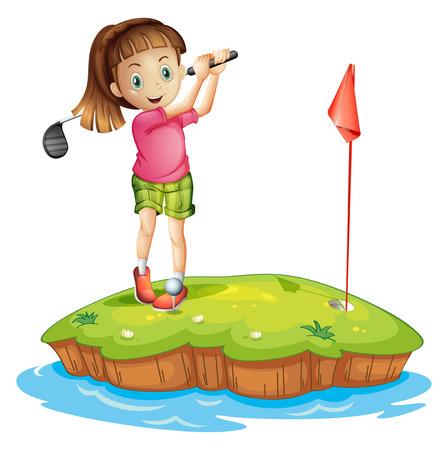 teen golf: Ilustración de un poco de golf linda chica sobre un fondo blanco Vectores