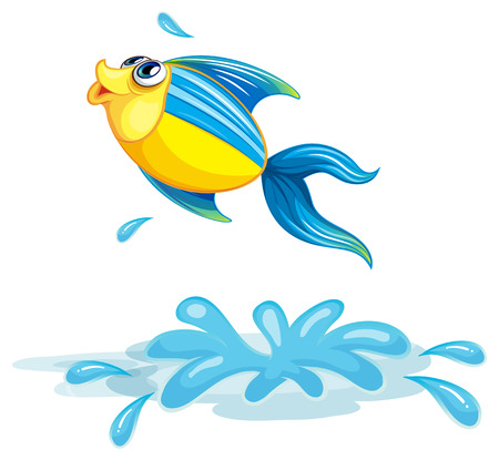 sanctuary: Illustration of a fish at the sea on a white background