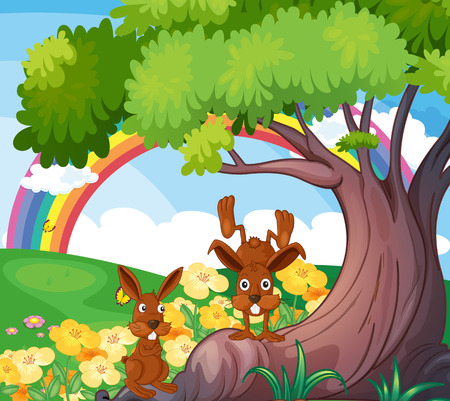 Illustration of the playful wild animals under the big tree Vector