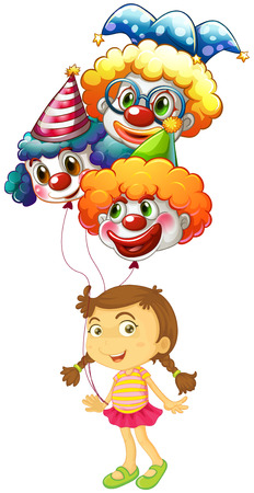 Illustration of a young girl holding three clown balloons on a white background Vector
