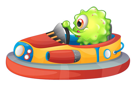 Illustration of a one-eyed monster riding a car on a white background Vector