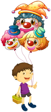 Illustration of a boy carrying three clown balloons on a white background Vector