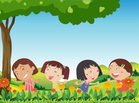flower blooming: Illustration of the happy kids playing outdoor near the blooming flowers