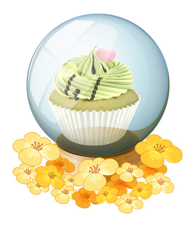 Illustration of a crystal ball with a cupcake on a white background Ilustrace