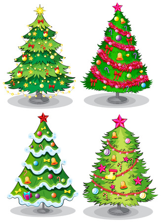 cartoon christmas tree: Illustration of the christmas trees on a white background