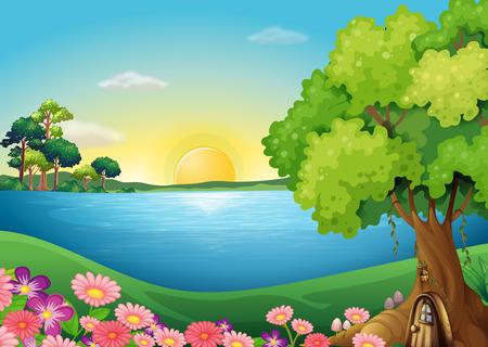 강둑: 나무 위의 집 근처 강둑에서 신선한 꽃의 그림 일러스트