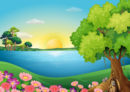 surrounding: Illustration of the fresh flowers at the riverbank near the treehouse Illustration