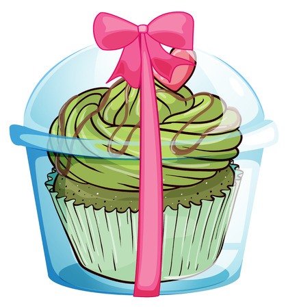 giveaway: Illustration of a cupcake container with a cupcake and a pink ribbon on a white background Illustration