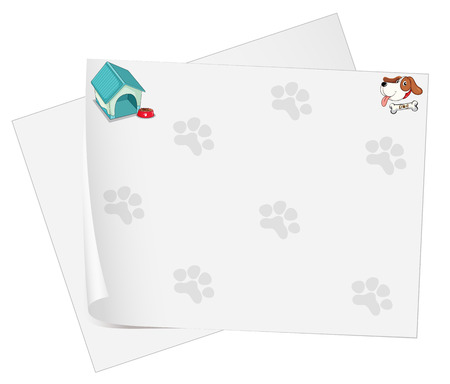 Illustration of an empty stationery with animal footprints on a white background Vector