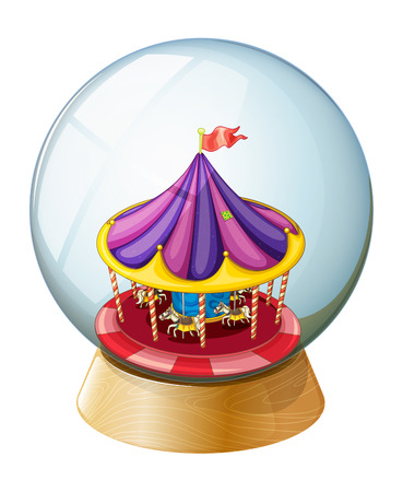amusement park ride: Illustration of a crystal ball with a kiddie ride inside on a white background
