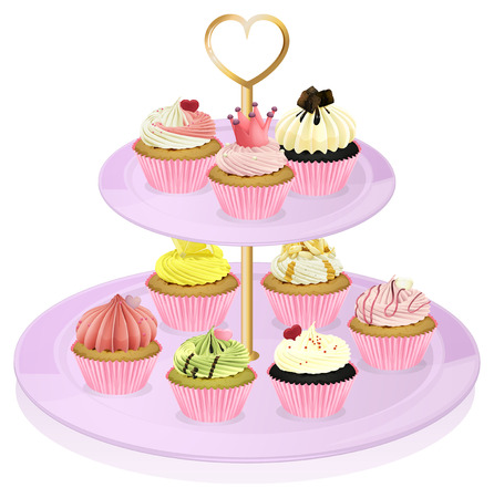dessert stand: Illustration of a cupcake stand with cupcakes on a white background
