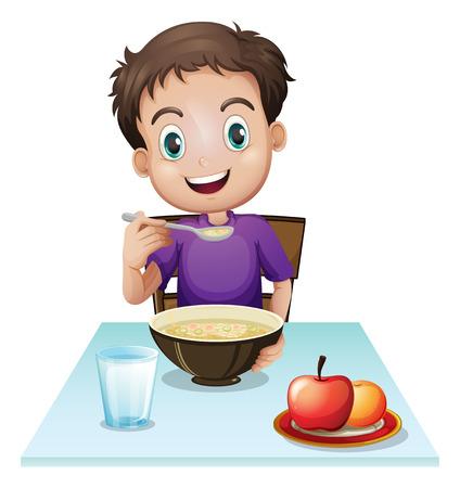 niño: Ilustración de un niño comiendo su desayuno en la mesa sobre un fondo blanco