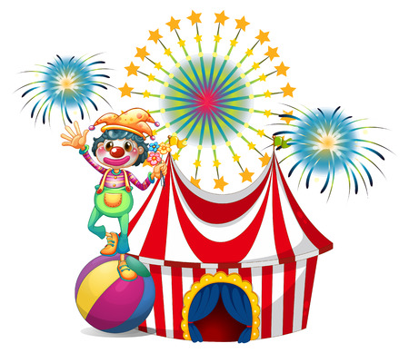 Illustration of a clown near the circus tent on a white background Vector