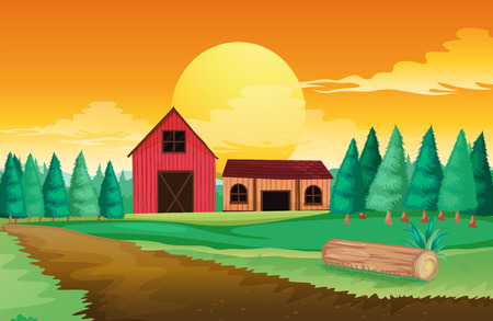 Illustration of the farm houses near the pine trees Vector