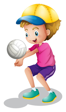 Illustration of a young man playing volleyballon a white background Vector