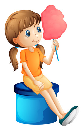 bench alone: Illustration of a young woman eating a cotton candy on a white background