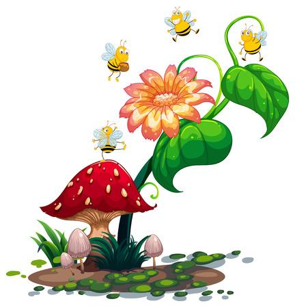 recursos naturales: Ilustración de una planta con las abejas en un fondo blanco