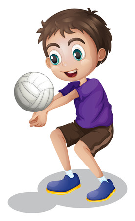 alone boy: Illustration of a young boy playing volleyball on a white background