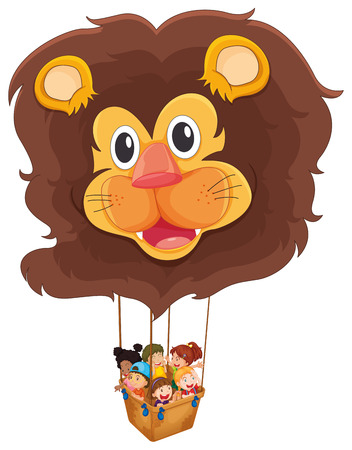 Illustration of a lion floating balloon with kids on a white background Vector