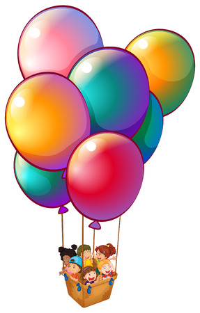 carried: Illustration of a group of kids riding a basket carried by the metallic balloons on a white background Illustration